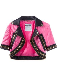 Shop Moschino cropped biker jacket in Parisi from the world's best independent boutiques at farfetch.com. Over 1000 designers from 300 boutiques in one website.