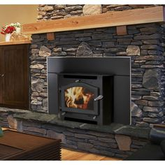 Sequoia Fireplace Insert, Wood Stove Insert by Kuma Stoves Wood Stove Fireplace Insert, Wood Burning Stove Insert, White Fireplace Mantels, Electric Fireplace With Mantel, Corner Gas Fireplace, Wood Burning Fireplace Inserts, Fireplace Mantel Surrounds, Build A Fireplace, Fireplace Ideas