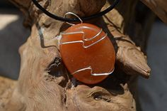 Carnelian Stone on a Leather Thong Necklace