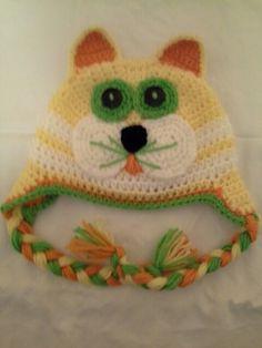 Kitty Kat Ear-Flap Hat Yellow,  Green & White