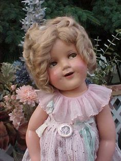"""25"""" COMPOSITION SHIRLEY TEMPLE DOLL HIGH COLOR MAKE UP RARE FLIRTY EYES ALL ORIG"""