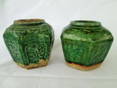 Pair of Old Chinese Jade Green Glaze Ceramic Pottery Ginger Jars