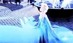 This gif is so cute. I love Elsa's face at the end because she is so happy she can be herself and loves that everyone else loves her with her powers.