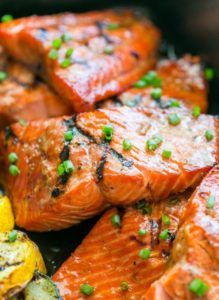 """This grilled maple salmon recipe is a KEEPER! Maple salmon is flaky, juicy and so flavorful! Marina writes """"By far, the BEST salmon recipe I've… Salmon Steak Recipes, Salmon Recipe Videos, Best Salmon Recipe, Grilled Steak Recipes, Seafood Recipes, Grilled Maple Salmon Recipe, Dinner Recipes, Fish Recipes, Seafood Dishes"""