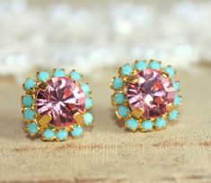 Crystal stud pink earring  14k plated gold post by iloniti on Etsy, $28.00