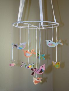 Small Pretty Birds Baby Mobile by magicalwhimsy on Etsy $32