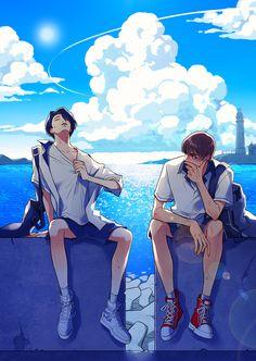 this is vmin fanart. Vkook Fanart, Fanart Bts, Bts Manga, Arte Do Kawaii, Anime Lindo, Bts Drawings, Fan Art, Image Manga, Anime Poses