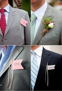 Homemade mini celebration flags as alternatives to floral buttonholes