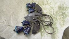 Blue Tulip Copper Leaf Earrings by annamei on Etsy
