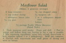Fould's Recipe For Mayflower Salad Vintage Spaghetti, Pasta, Macaroni, Ad, Advertising Retro Recipes, Old Recipes, Vintage Recipes, Cookbook Recipes, Cooking Recipes, Cooking Ideas, Yummy Recipes, How To Cook Shrimp, Salads