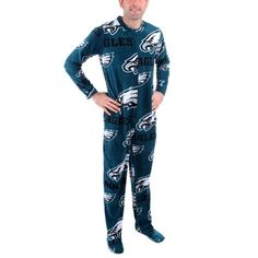 Mens Philadelphia Eagles Green Ramble One-Piece   Mansie   Footie Pajama  Suit bc432d196