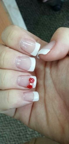 French tip with a red bow♥