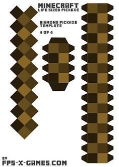 Minecraft life sized diamond pickaxe printable papercraft template