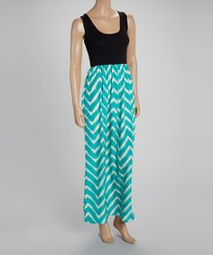 Another great find on #zulily! Mint & Black Zigzag Sleeveless Maxi Dress by sun n moon #zulilyfinds