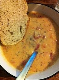 Recipe: Tomato Basil Parmesan Soup - slow cooker or stove top; 1 cup each - onion, carrots, celery, 28oz tomatos, 4cups chicken broth; 1 bay leaf, 1tsp oregano, 1 T basil all in the crock pot; then make a roux with 1/2 stick butter 1T of olive; add soup; add 1/2 parm; add 2 cups milk - try 1 cup light cream and 1 cup 2% milk next time.