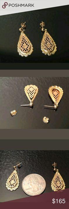 """Beautiful 14k gold earrings 14K YELLOW GOLD & ROSE GOLD * FANCY TEARDROP * DANGLE EARRINGS *   MEASUREMENTS: 1 3/16"""" L by 1/2"""" W *   MARKINGS: 14K * Designer Mark   WEIGHT: 1.0 grams TOTAL WEIGHT Jewelry Earrings"""
