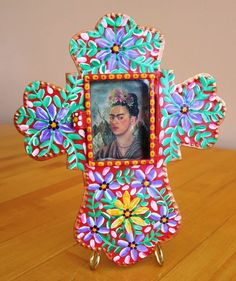 :D. ❤️Hand Painted Tin Frame Mexican Folk Art Nicho Frida Kahlo Cross Mexico Free S&H