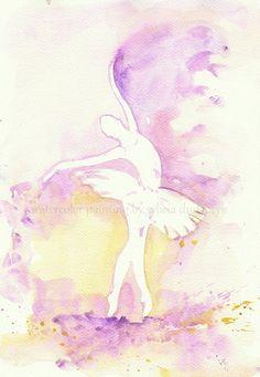Purple Ballerina Art  Watercolor  Print my Original  Painting 8x11 Dance Ballet  Ballerina Home Decor Illustration  purple yellow