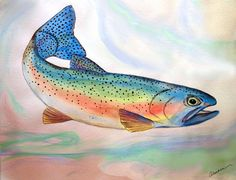 Full On Trout Painting by Alethea McKee