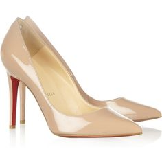 Christian Louboutin Pigalle 100 patent-leather pumps (1,115 BAM) ❤ liked on Polyvore featuring shoes, pumps, heels, sapatos, christian louboutin, red sole shoes, christian louboutin pumps, patent pumps, patent leather shoes and patent leather pumps