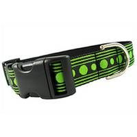 """This fashionable and unique design will be noticed by passers-by when you're out for a stroll with your furry loved one. This striking lime and onyx set is a perfect duet. Striking onyx ribbon with lime stripe and dot detail featured on classic black nylon webbing with quick release buckle. All collars, leads, and harnesses are 1"""" wide."""