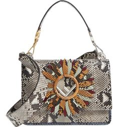 See the Fendi Kan I Daisy Logo Genuine Python Shoulder Bag in Grey. Fendi Purses, Purses And Handbags, Luxury Handbags, Animal Print Purses, Animal Prints, White Handbag, Big Bags, Shoulder Handbags, Shoulder Bags