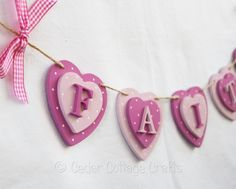 Personalised Wooden Heart Bunting Baby Gift keepsake
