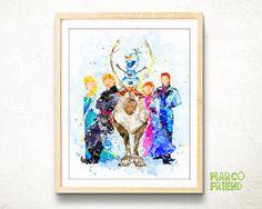 Disney Frozen watercolor art print poster Disney by MarcoFriend