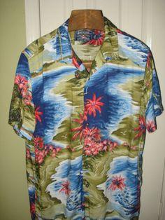 Ralph Lauren American Living RARE Tropical Print Rayon Shirt L | eBay