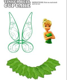 Tinker Bell free printables cupcake liners and toppers for fairy party Tinkerbell Wings, Peter Pan And Tinkerbell, Tinkerbell Party, Tangled Party, Festa Thinker Bell, Bolo Tinker Bell, Tinkerbell Cake Topper, Fairy Cupcakes, Peter Pan Party