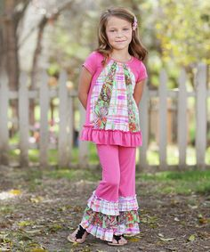Another great find on #zulily! Pink Floral Patchwork Ruffle Tunic & Pants - Toddler & Girls #zulilyfinds