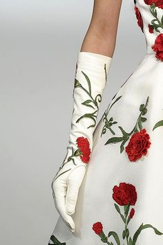 Oscar de la Renta: Spring Summer 2011. Carnation Gloves.  http://www.style.com/slideshows/2010/fashionshows/S2011RTW/ODLRENTA/DETAILS/01220fullscreen.jpg