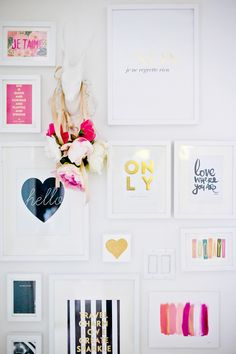 pink, white, gold and black graphic gallery wall