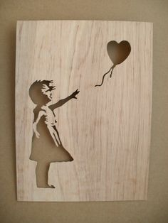 Banksy Girl With Balloons Wood Silhouette Wall Art by existencil Banksy Stencil, Stencil Art, 3d Wall Art, Nursery Wall Art, Support Smartphone, 3d Puzzel, Its A Girl Balloons, Small Wood Projects, Cnc Projects