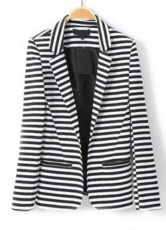 Black White Striped Notch Lapel Long Sleeve Blazer pictures