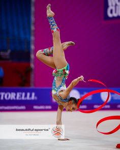 Dina Averina (Russia) ~ Ribbon @ Pesaro-Italy 2018/04/15-14 Photo by Ulrich Fassbender.