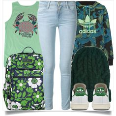 School Style by madeinmalaysia on Polyvore featuring mode, adidas Originals, Frame Denim, Vera Bradley and Eugenia Kim