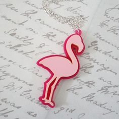 Large laser cut acrylic pink flamingo necklace by Sugar and Vice Designs, SVJewellery on etsy.