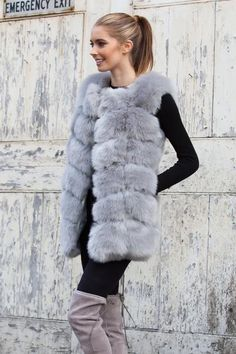 Styled in London Website, Styled in London Clothes, Celebrity Clothing, Pale Silver Grey Faux Fur Gilet, Styled in London Dress