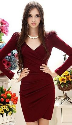 (via High Fashion - Women Dresses - Style - Makeup - Hair - bags / Frida Dress Maroon Red)