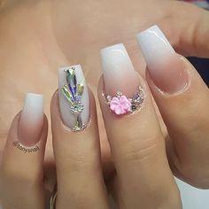 and Beautiful Nail Art Designs Teal Nails, Bling Nails, 3d Nails, Pastel Nails, Chic Nail Art, Chic Nails, Tapered Square Nails, Nail Art Pictures, Beautiful Nail Art