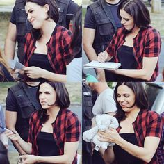 Awesome Lana (Regina) Lana holding a card from an awesome Once fan (top left) Lana signing something for an awesome Once fan (top right) Lana getting ready to sign something for an awesome Once fan (bottom left) Lana holding looking at and admiring her adorable awesome little Elephant (bottom right) #Once #BTS the awesome Once S5 E5 #Dreamcatcher #Steveston Village #Richmond Vancouver BC Tuesday 8-25-15