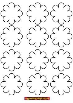 Flower template coloring page Seed Bead Flowers, Felt Flowers, Fabric Flowers, Paper Flowers, Preschool Coloring Pages, Easy Coloring Pages, Foam Crafts, Diy And Crafts, Paper Crafts