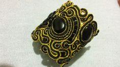 Сутажный браслет от KforU. Материалы - черный агат, горный хрусталь, стекло, чешский бисер, сутажный шнур. Без изнанки. 30$