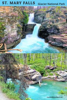 Mary Falls is a popular among tourists for its Crystal Clear blue water. Glacier National Park Montana, Glacier Park, Vacation Destinations, Vacation Spots, Vacations, Virginia Fall, Us National Parks, Le Far West, Beautiful Waterfalls