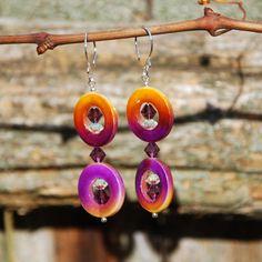 OOAK Handmade Purple and Yellow Shell by KarmaKittyJewelry on Etsy $16.00