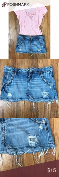 """Destroyed Denim Mini Skirt ⭐️ This company runs small. Low Rise. Love the wash on this skirt!  skirt is 9"""" and made out of 98% cotton and 2% Spandex. This skirt is not Abercrombie! Only listed for more exposure ‼️ Abercrombie & Fitch Skirts Mini"""