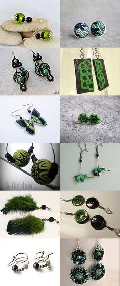 Les boucles d'oreilles puces étoilées à plumes vertes et noires. Boucles d'oreilles vert noir by Reriro on Etsy--Pinned with TreasuryPin.com