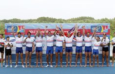 Daniel Ritchie, Tom Ransley, Alex Gregory, Pete Reed, Mohamed Sbihi, Andrew Triggs Hodge, George Nash, William Satch and Phelan Hill of Great Britain pose with their gold medals after the Men's Eight final during day eight of the 2013 World Rowing Championships on September 1, 2013 in Chungju, South Korea.