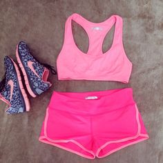 Forever 21 Pink Workout Outfit Forever 21 workout outfit. Top and shorts are both size medium. Shorts are short. I'm a 34C and the top fits me pretty well, just a tad too big around the band. Shoes are NOT for sale Forever 21 Tops
